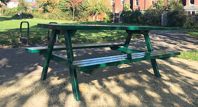 Picnic bench in Romiley Park
